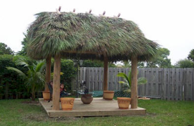 Tiki Huts with traditional Sabal Palm Fronds