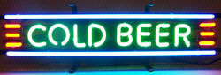 """Cold Beer"" Neon Sign for your Tiki Bar."